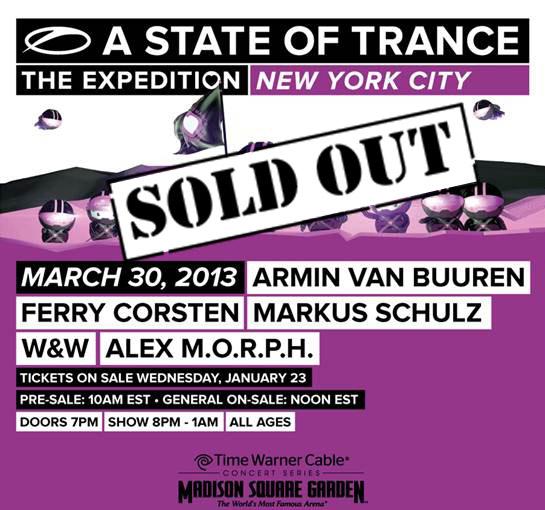 A State Of Trance 600: New York City Show SOLD OUT