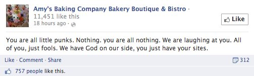 Amy's Baking Company Facebook Post